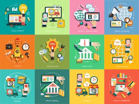 Infografiken Hintergrund Geschäft. Geschäftskonzept. Set Icons, E-Mail-Marketing, Netzwerkkommunikation, digitales Marketing, Start up, Geschäftsidee, Contact Center, Internet Banking, Shopping, Account Management.