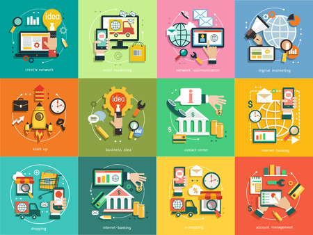 infographics background business. Business concept. Set icons, email marketing, network communication, digital marketing, start up, business idea, contact center, internet banking, shopping, account management. Ilustração
