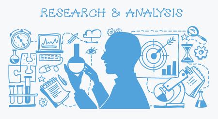 Konzept Studie Business Probleme und ihre Analyse. Forschung & Analyse Gekritzel-Set. Hintergrund Business-Konzept.