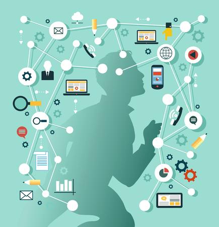 Kreatives Netzwerkkonzept. Silhouette des Mannes umgeben von Medien-Ikonen. Illustration