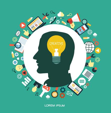 Kreatives Netzwerkkonzept. Silhouette eines Mannes Kopf mit einer Glühbirne, die eine Idee symbolisiert. Umgeben von Medien-Ikonen.
