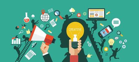 Kreatives Netzwerkkonzept. Silhouette des Kopfes einer Person mit Treppen, ein Megaphon und Figuren von kreativen Arbeitern. Umgeben von Medien-Ikonen. Illustration