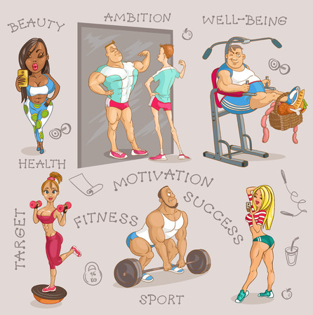 Hand drawn. Vector illustration. Cartoon of women and men engaged in fitness.  Isolated objects.