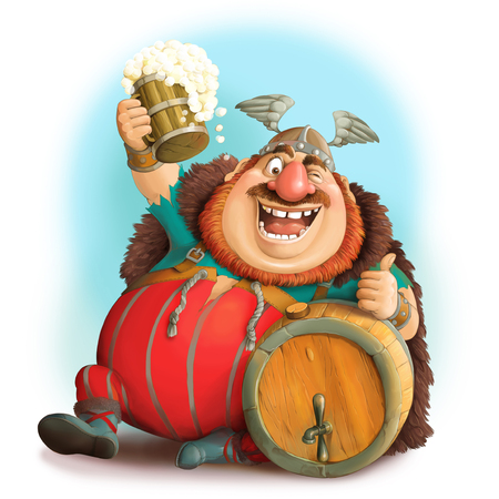 Illustration. Funny cartoon of a Viking in a helmet with a mug of beer. Sits with a barrel and shows the likes.