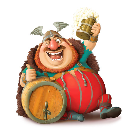 Illustration. Funny cartoon of a Viking in a helmet with a mug of beer. Sits with a barrel and shows the likes. Isolated objects.