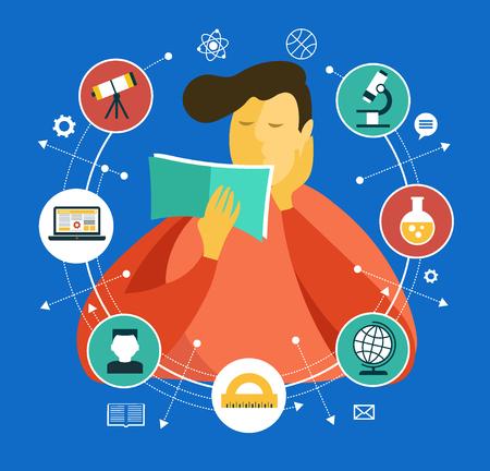 Hombre con un libro rodeado de iconos de educación. Proceso de aprendizaje. Gráficos vectoriales.
