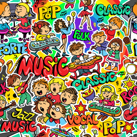 Vector. Seamless pattern on a theme music. Set of objects. Vocal, Classical, Rock, Folk, Jazz, Pop. Illustration