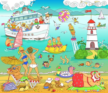 Vettore. Illustrazione. Fumetto divertente. La trama dei vacanzieri sono persone sulla spiaggia del mare. Divertimento sull'acqua.