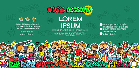 Flyer. Music lessons. Set of objects. Vocals, Classical, Rock, Folk, Jazz, Pop.