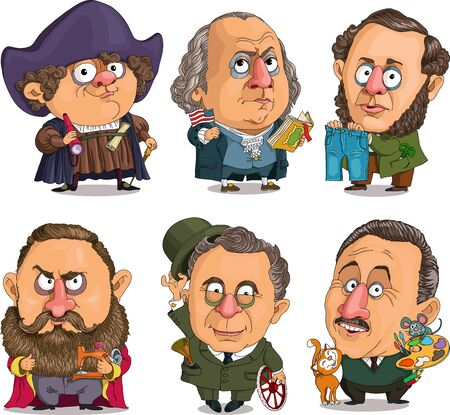 Comic caricature. Vector. A set of famous American historical celebrities. First President of the United States, pioneer of America, inventor of jeans, sewing machine manufacturer, inventor of a car, cartoonist.
