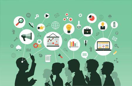 Silhouette d'un groupe de personnes écoutant une conférence. Mind Map-Illustration vectorielle.