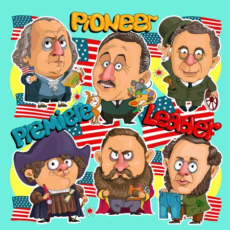 Sticker comics American leaders. First President, pioneer of America, inventor of jeans, sewing machine manufacturer, inventor of a car. Cartoonist.