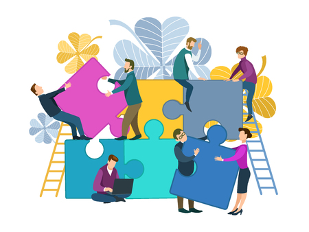 Business concept of solving cooperation, support and success in a common cause. Silhouettes of businessmen connecting puzzles. Vector flat illustration.