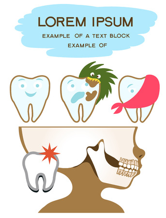 Vector Illustration. Flat cartoon style. Upper and lower jaws. The image of the teeth. Prevention and treatment of dental diseases.