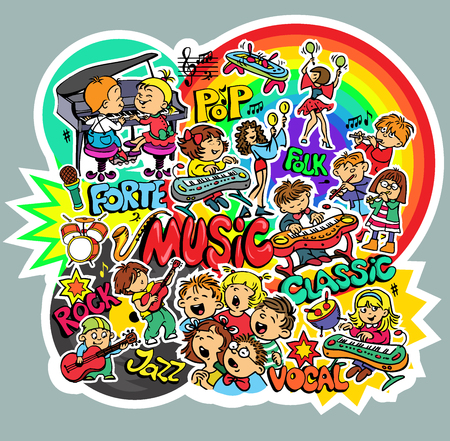 Vector. Bright childrens sticker on music theme. Set of objects. Vocals, Classical, Rock, Folk, Jazz, Pop.