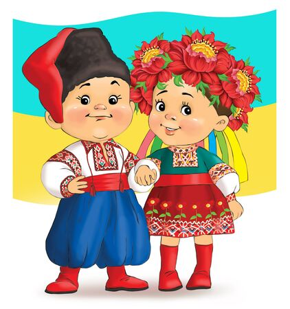 Colorful cartoon. Illustration. Happy children in national costumes on the background of the flag of Ukraine 스톡 콘텐츠