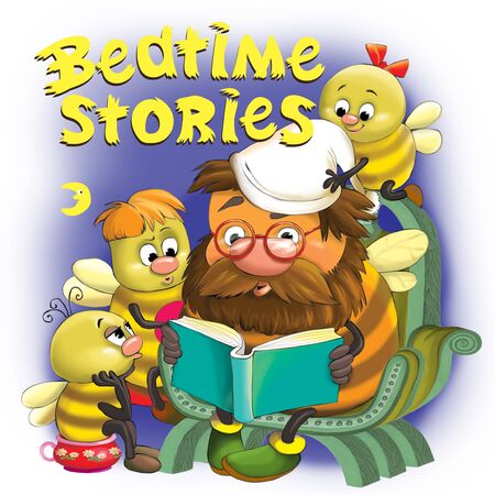 Colorful illustration. Grandfather Bumblebee reads bedtime stories to his grandchildren. Top inscription.