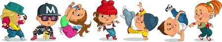 Funny cartoon. Vector illustration. Group of cheerful teenagers dancing Hip-Hop. Isolated objects.  イラスト・ベクター素材