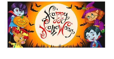 vector, funny fairy-tale characters are going to have fun on the holiday. At night against the backdrop of the full moon. Surrounded by bats and glowing pumpkins. Inscription. Happy Halloween. Çizim