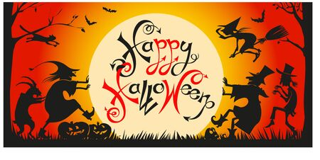 vector, funny fairy-tale characters are going to have fun on the holiday. At night against the backdrop of the full moon. Surrounded by bats and glowing pumpkins. Inscription. Happy Halloween. Ilustrace