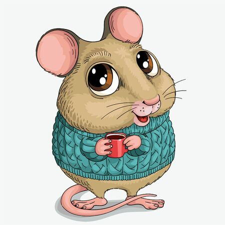 Vector illustration. Cute cartoon. Funny mouse in a sweater.