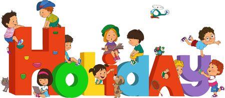 Vector illustration. School break. Happy children have fun in voluminous letters.