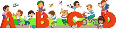 Illustration of children playing among the letters of the alphabet