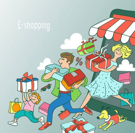 Vector illustration. E-shopping concept. Joyful buyers have successfully purchased many products.