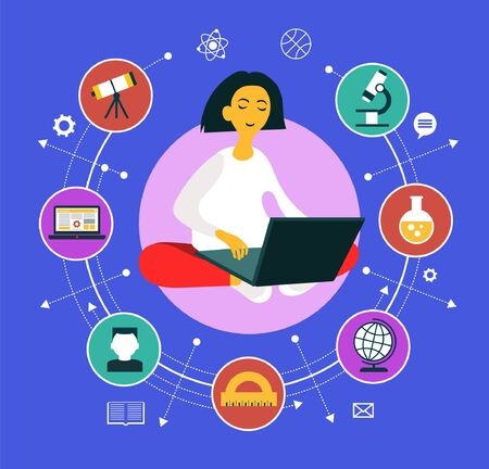 Girl sitting with a laptop surrounded by education icons. Learning process. Vector graphics.