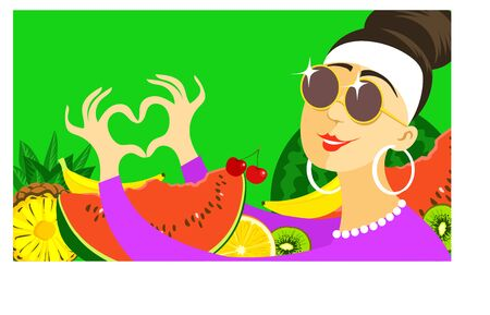 Modern background. Vector. Bright summer illustration. Joyful girl surrounded by fruits shows her heart with fingers. Illusztráció