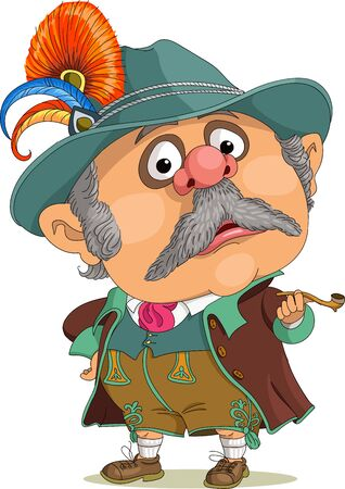 Vector funny cartoon. Bavarian in national costume with a smoking pipe in his hand. Illustration