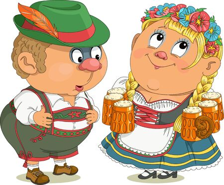 Vector funny cartoon. Bavarians, man and woman in national costumes. A beer lover looks at the waitress with interest. Иллюстрация