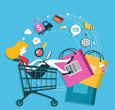 E-commerce infographics background. Internet banking concept. Services, loyalty programs, bonuses, discounts.