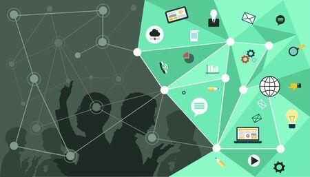 Vector. Modern backgrounds. Mind Map Team - Illustration  イラスト・ベクター素材