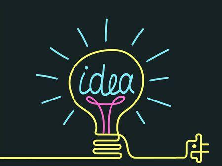 Vector. Light bulb drawn by a bright line. Concept of idea and creativity. Ilustração