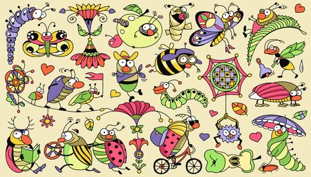 Vector multicolored vibrant pattern. Funny doodle diverse insects. Each item can be used separately.