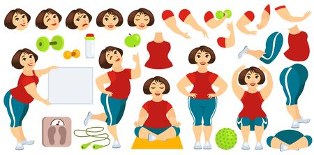 Vector flat isolated illustration. Set for creating female character for animation. Yoga, fitness, gymnastics. Full length, squat, front, side, accessories, poses, emotions, gestures.