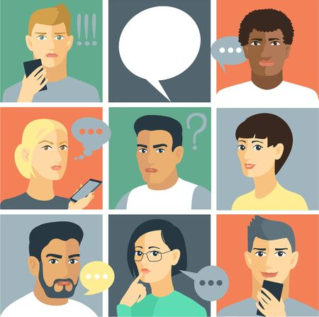 Vector illustration. Square dialog boxes with avatars of men and women who discuss social networks, news. Communication concept. With chat speech bubbles.