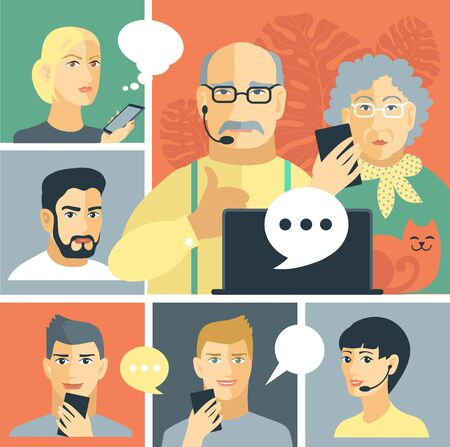 Flat vector character illustrations. An elderly couple conducts a dialogue on the Internet. Always online with relatives using a laptop. Çizim
