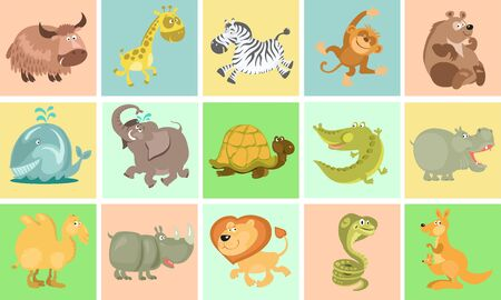 Vector illustration. Collection of cute cartoon animals. Hand-drawn. Separately against a colorful background. Pattern of squares with figures. Illustration