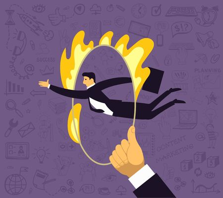 Vector illustration. A man jumps through a ring of fire. Surrounded by drawings on a business theme. The concept of risk in office work, a clear calculation, growth, determination and competitiveness.
