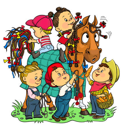 Vector illustration. Funny story at the stable. Children enthusiastically decorate a horse with colorful ribbons and bows. Feed her carrots.