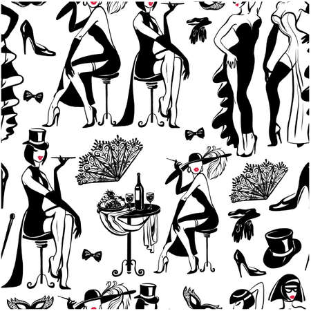 Vector drawing on a white background. Seamless black and white pattern with graceful women in evening dresses. Retro style. Иллюстрация