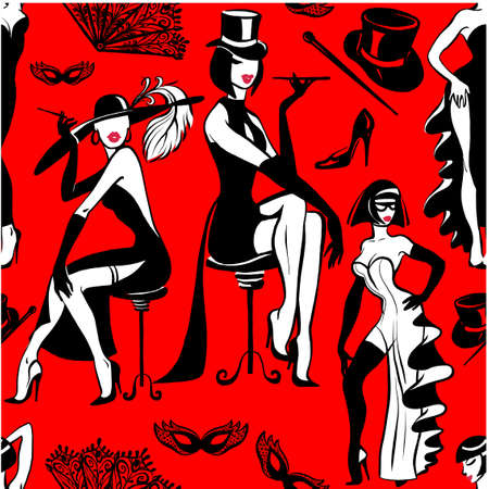 Vector drawing on a red background. Fashionable seamless pattern with graceful women in evening dresses. Retro style. Иллюстрация