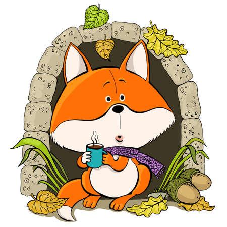 Vector cartoon. A cute red fox meets autumn with a cup of hot tea near his house. 矢量图像