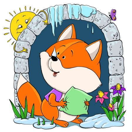 Vector cartoon. A cute red-headed sleepy fox with a pillow looks out of his house. Welcomes spring.