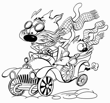 Vector black and white illustration. For coloring. Funny characters of cats are racing in an old car