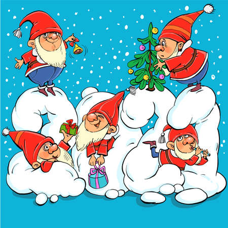 Vector illustration. Funny cartoon. Funny Santa Clauses Have Fun on Snow Numbers 2021