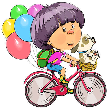 Vector illustration. Funny boy rides a bicycle with a dog. Behind them are balloons