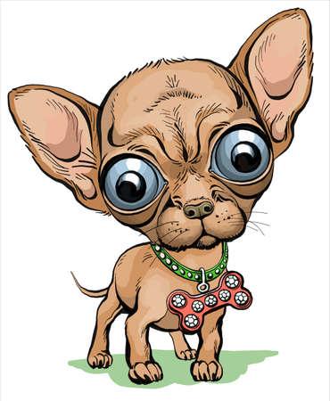 Vector. Illustration. Cartoon funny puppy dog chihuahua dark color. Loyal friend and vigilant guard